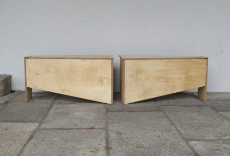 Two plywood benches