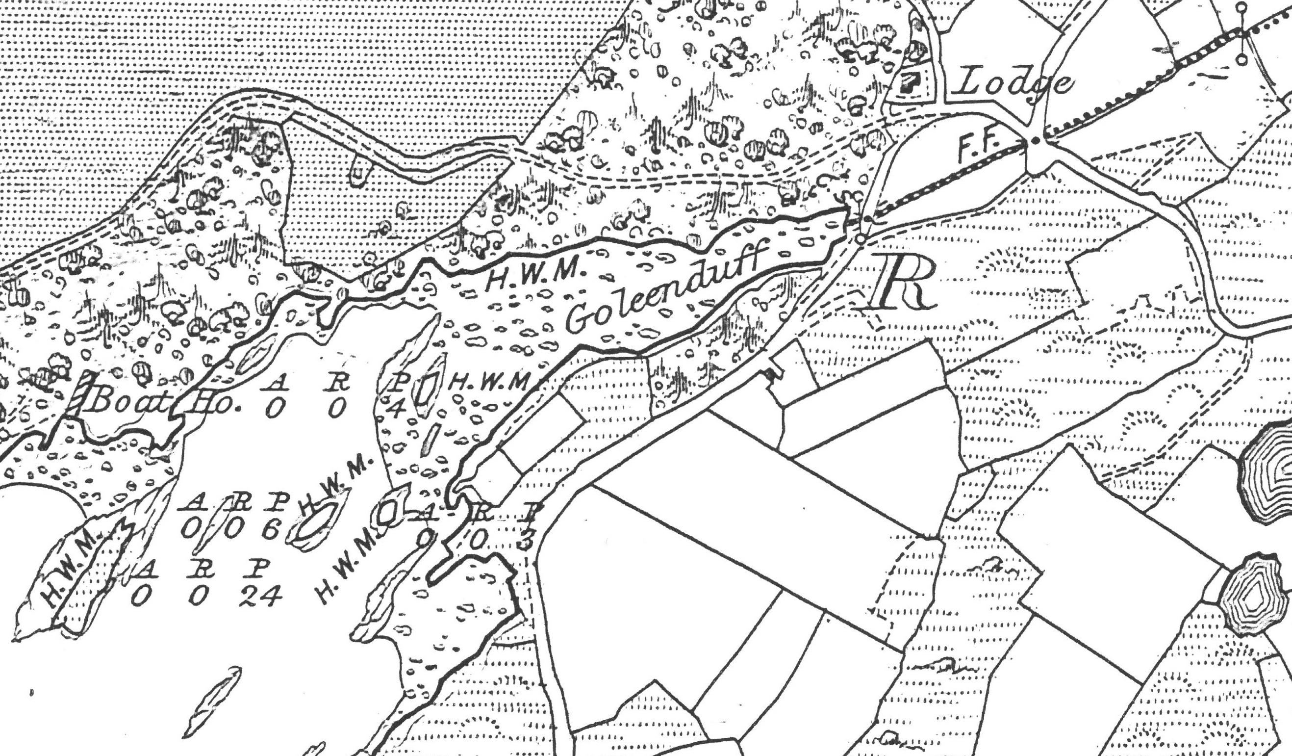 "Excerpt from Sheet 100 of OS Second Edition 6"" Map Surveyed 1895-96 showing the southern lodge and entrance to the demesne"